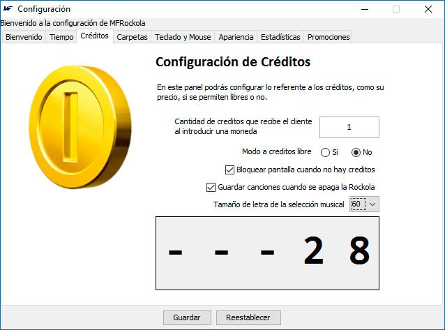 configuración créditos
