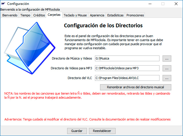 configuración directorios