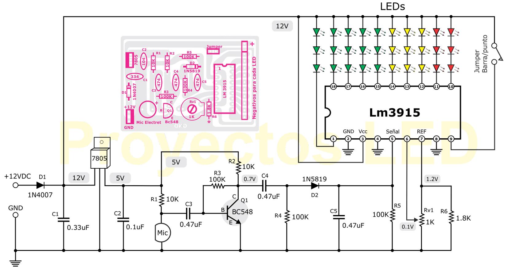 Circuito Vumetro : Vumetro activado por micrófono