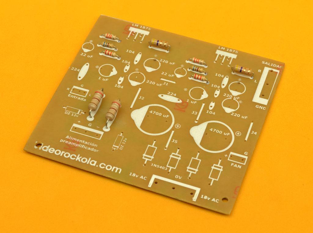 Circuito Impreso : Amplificador estéreo de w con el circuito integrado tda